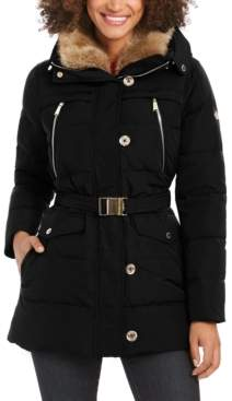 Michael Kors Michael Belted Faux-Fur Collar Down Hooded Down Coat