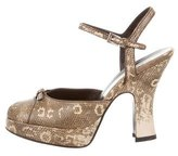 Prada Embossed Peep-Toe Sandals