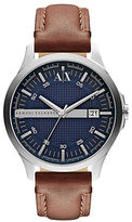 Armani Exchange Mens Stainless Steel and Leather Strap Watch