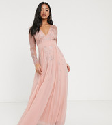 Asos DESIGN Petite Embroidered pleated mesh detail maxi dress