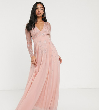 Asos DESIGN Petite Embroidered pleated mesh detail maxi dress-Grey