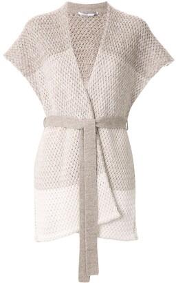 Agnona Chunky Knit Shortsleeved Cardigan