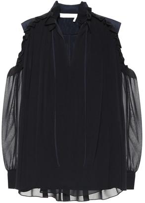 Chloã© Silk cold-shoulder blouse