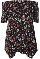 Evans Black Floral Print Gypsy Top