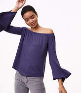 LOFT Velvet Trim Off The Shoulder Bell Sleeve Top