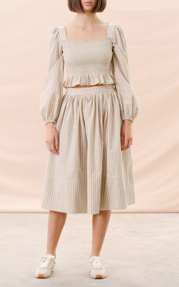 By Ti Mo Smocked Gingham Cropped Top