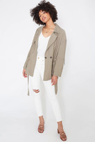 Abbeline Collared Belted Wrap Coat Olive S
