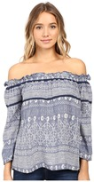 Roxy Beach Fossil Printed Cold Shoulder Top