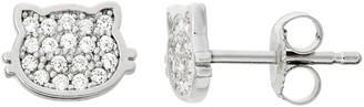 Junior Jewels Kids' Sterling Silver Cubic Zirconia Cat Stud Earrings