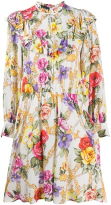 Boutique Moschino Floral Print High-Neck Dress