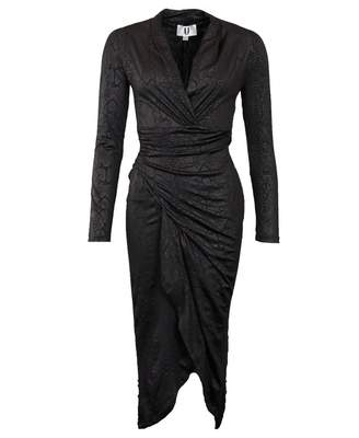 Forever Unique Collection Snakeskin Low Midi Dress Colour: BLACK, Size