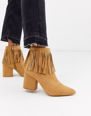 Glamorous suede fringed ankle boots-Tan
