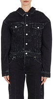 Balenciaga Women's Oversized-Neckline Denim Jacket-BLACK