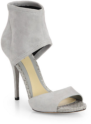Brian Atwood Correns Snakeskin & Suede Stretch Sandals