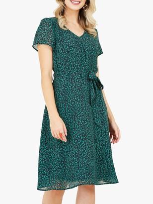 Yumi Ditsy Floral Print Skater Dress, Green