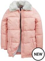 Very Girls Faux Fur Trim Padded Pink Coat