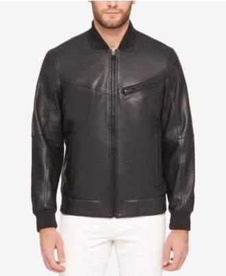 Andrew Marc Men's Three-Pocket Leather Bomber Jacket