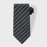 Paul Smith Men's Navy And White Diagonal Stripe Wool-Silk Tie