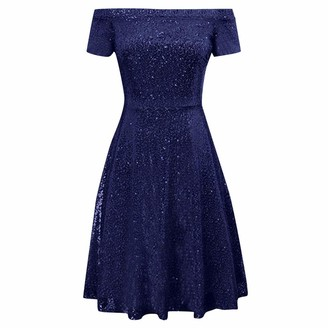 Hulky Women's Dresses HULKY Women's Sequin Bridesmaid Dress Short Sleeve Off Shoulder Pleated A-Line Evening Dress Maxi Evening Prom Bodycon Dress Navy