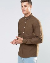 Asos Oxford Shirt In Khaki With Long Sleeves In Regular FIt