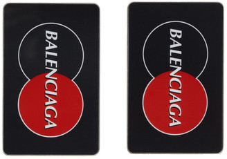 Balenciaga Black and Red Visitor Plate Earrings
