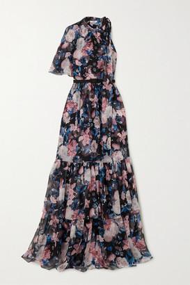 Erdem Natalina One-sleeve Floral-print Silk-voile Gown - Black