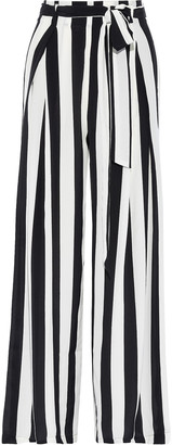We Are Leone Luke Belted Striped Silk Crepe De Chine Wide-leg Pants