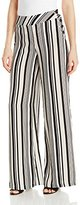 XOXO Women's Printed Silky Vertical Stripe Wide Leg Pant with Side Buttons