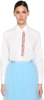 DELPOZO Embroidered Cotton Poplin Shirt