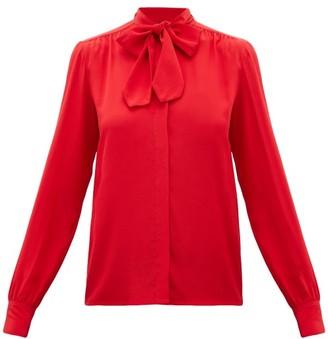Giambattista Valli Pussy-bow Silk-crepe Blouse - Red
