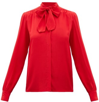 Giambattista Valli Pussy-bow Silk-crepe Blouse - Womens - Red