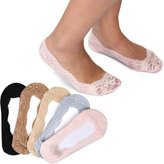 BMC Womens 5 Pair Solid Color Anti-Slip No Show Low Cut Boat Socks With Toe Grip