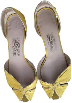 Salvatore Ferragamo Yellow Leather Ballet flats