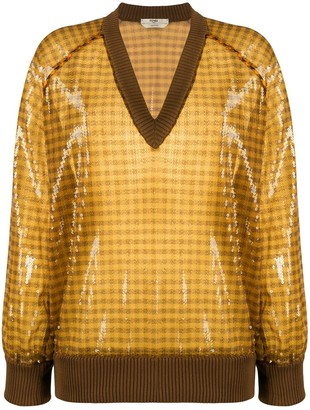 Fendi Vichy pattern sequinned V-neck jumper