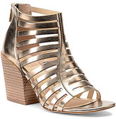 Isola Ianna Metallic Leather Caged Peep Toe Block Heel Booties