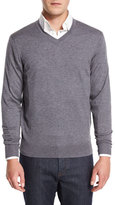 Neiman Marcus Cashmere-Silk V-Neck Sweater, Derby Gray
