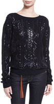 Ralph Lauren Sequined Cable-Knit Silk-Nylon Sweater