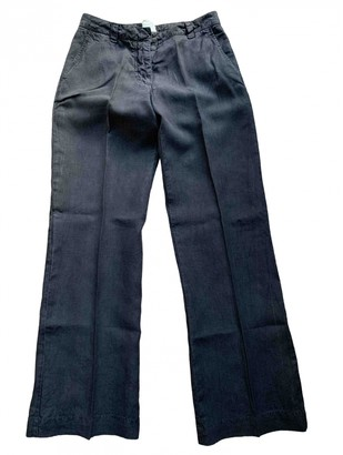 120% Lino Black Linen Trousers for Women