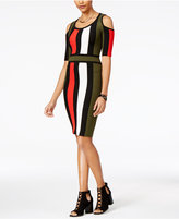 XOXO Juniors' Colorblocked Cold-Shoulder Bodycon Dress