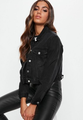 Missguided Tall Black Cropped Boxy Denim Jacket