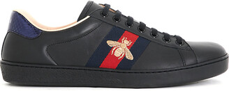 Gucci Ace embroidered bee leather low-top trainers