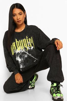 boohoo Petite Oversized Acid Wash 'Babygirl' Sweatshirt