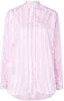 Victoria Beckham striped band collar shirt - women - Cotton - 8