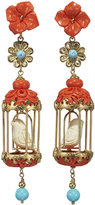 Of Rare Origin Aviary Classic Earrings - Coral & White