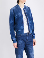 Stella McCartney Star-patterned stretch-denim bomber jacket