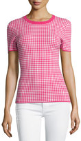 Michael Kors Gingham Short-Sleeve Tee, Geranium