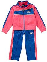 Nike Little Girls 2 Piece Pink & Blue Jacket & Pants Set Tricot Track Suit 2T