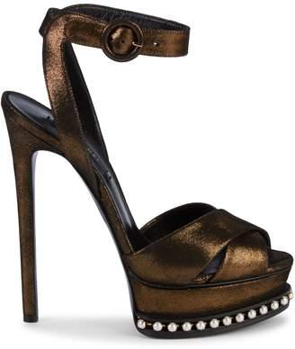 Casadei Faux Pearl Glitter-Leather Platform Slingback Sandals