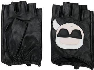 Karl Lagerfeld Paris Ikonic applique fingerless gloves