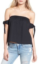 J.o.a. Women's Tie Sleeve Off The Shoulder Top